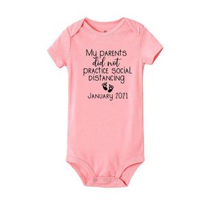 Social Distancing Baby Announcement Onesie Baby