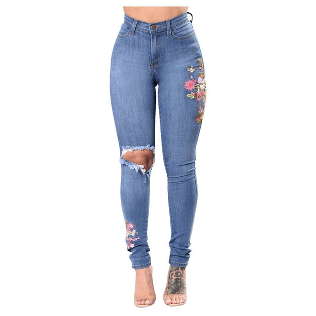 'Lisa' Ultra Stretchy Blue Ripped Jeans