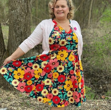 Load image into Gallery viewer, Multi-Color Floral Fit and Flare Dress