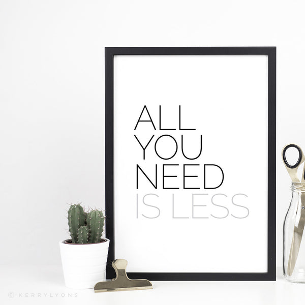Collection of motivational unframed prints in 4 designs: All you need is less | Less talk more action | Life's too short to wait | Take the risk lose the fear