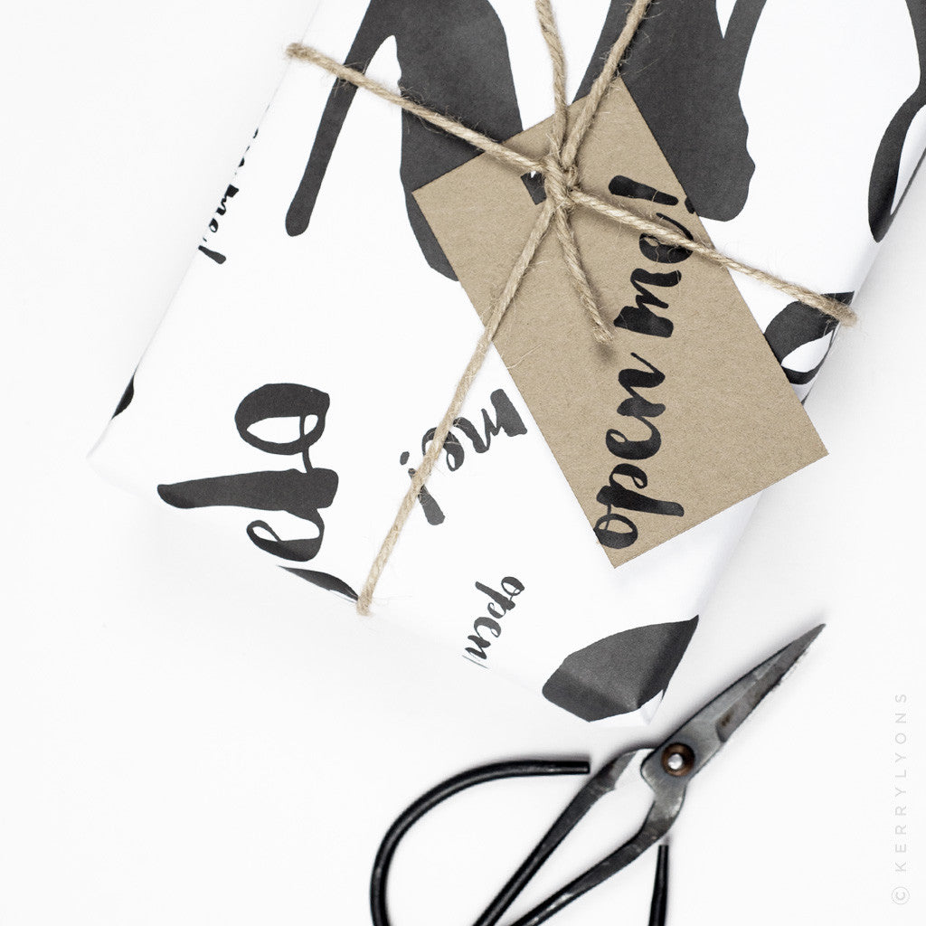 Our 'Open me' giftwrap is the perfect way to wrap your well-thought-out present and make it all the more exciting to open!