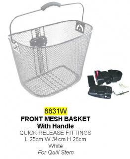 Quick release front basket
