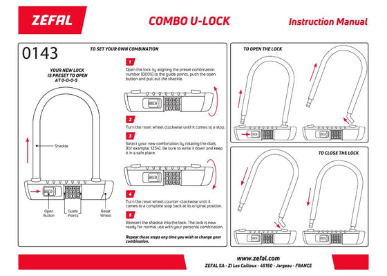 Zefal K-Traz U13 lock set with combination