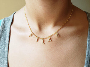 ICL03 - Crystal Initial Necklace Figaro Chain