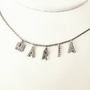ICL01 - Crystal Initial Necklace Stainless Rolo Chain