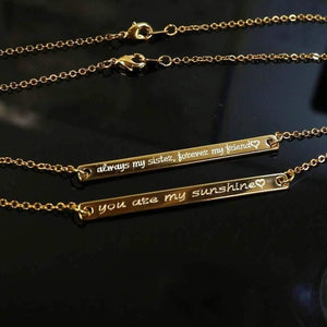 ELB01 - Engraved Long Bar Necklace