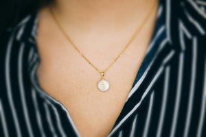 APPI01- Asymmetrical Pearl Paved Initial Necklace