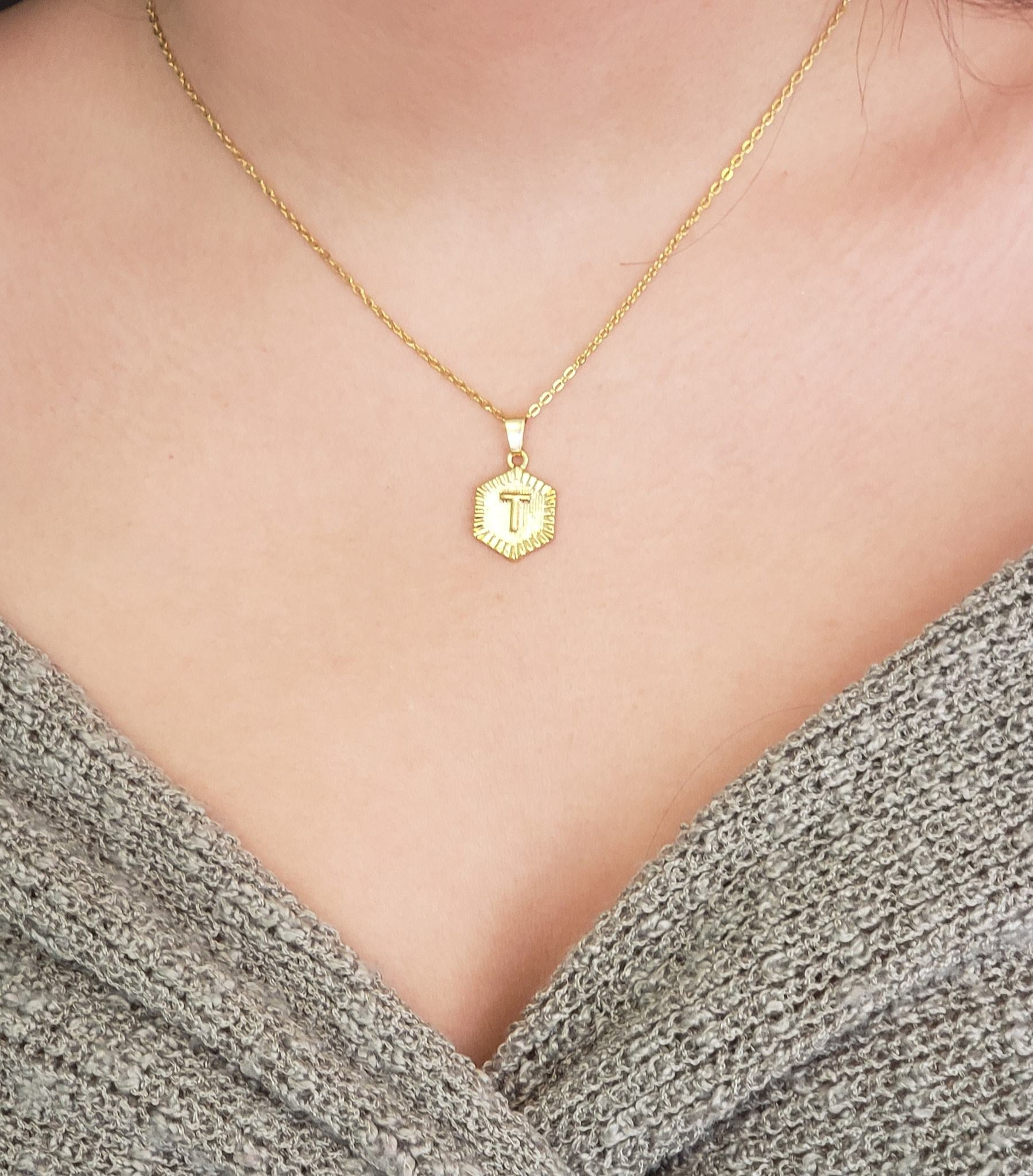 HXINT01 - Hexagon Initial Pendant FIGARO (STERLING WITH GOLD PLATING CHAIN)