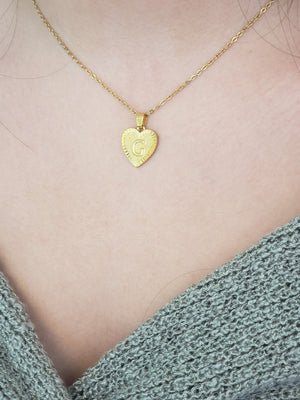 HINT02 - Heart Initial Pendant W/ stainless steel cable chain