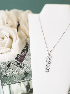 AB02 - Calligraphy Vertical Name Necklace