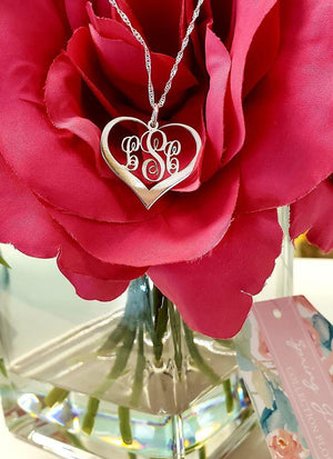 MNHR01 - Mini Heart Script Monogram Necklace