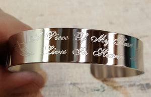 APCCff - A Piece Of My Heart Lives In Heaven Engraved Memorial Cuff Bracelet