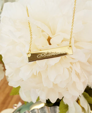 BR01- Engraved Bar Necklace Custom Personalized