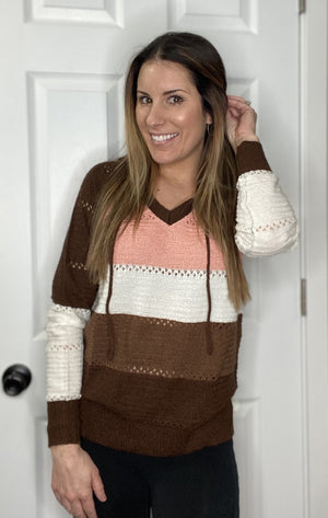 Brown Stripe V Neck - RTS