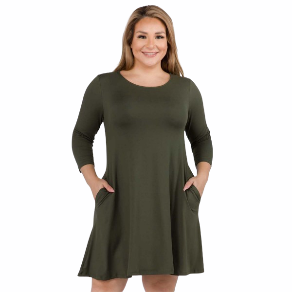 Dress With Pockets Plus Size - Olive - RTS