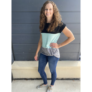 Black Gray Teal Short Sleeve - RTS