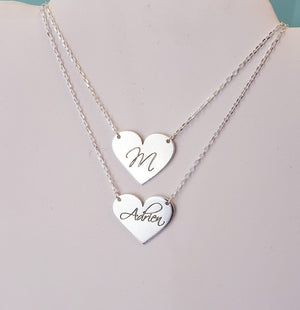 HEPP01 - Heart Engraved Personalized Pendant Necklace