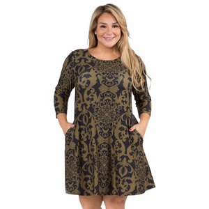 Dress With Pockets Plus Size - Olive With Design