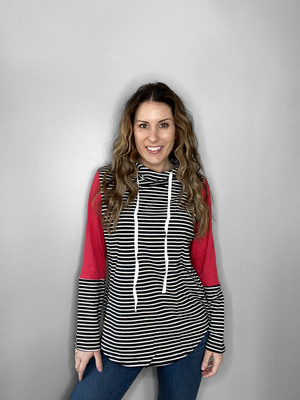 Red Color Block Stripe Hoodie - RTS