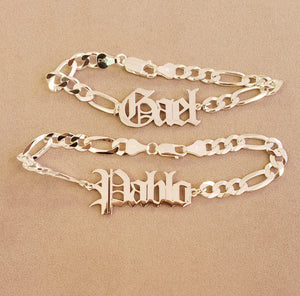 OELFC4 - Old English Large Figaro Chain Bracelet (Large Name Plate)