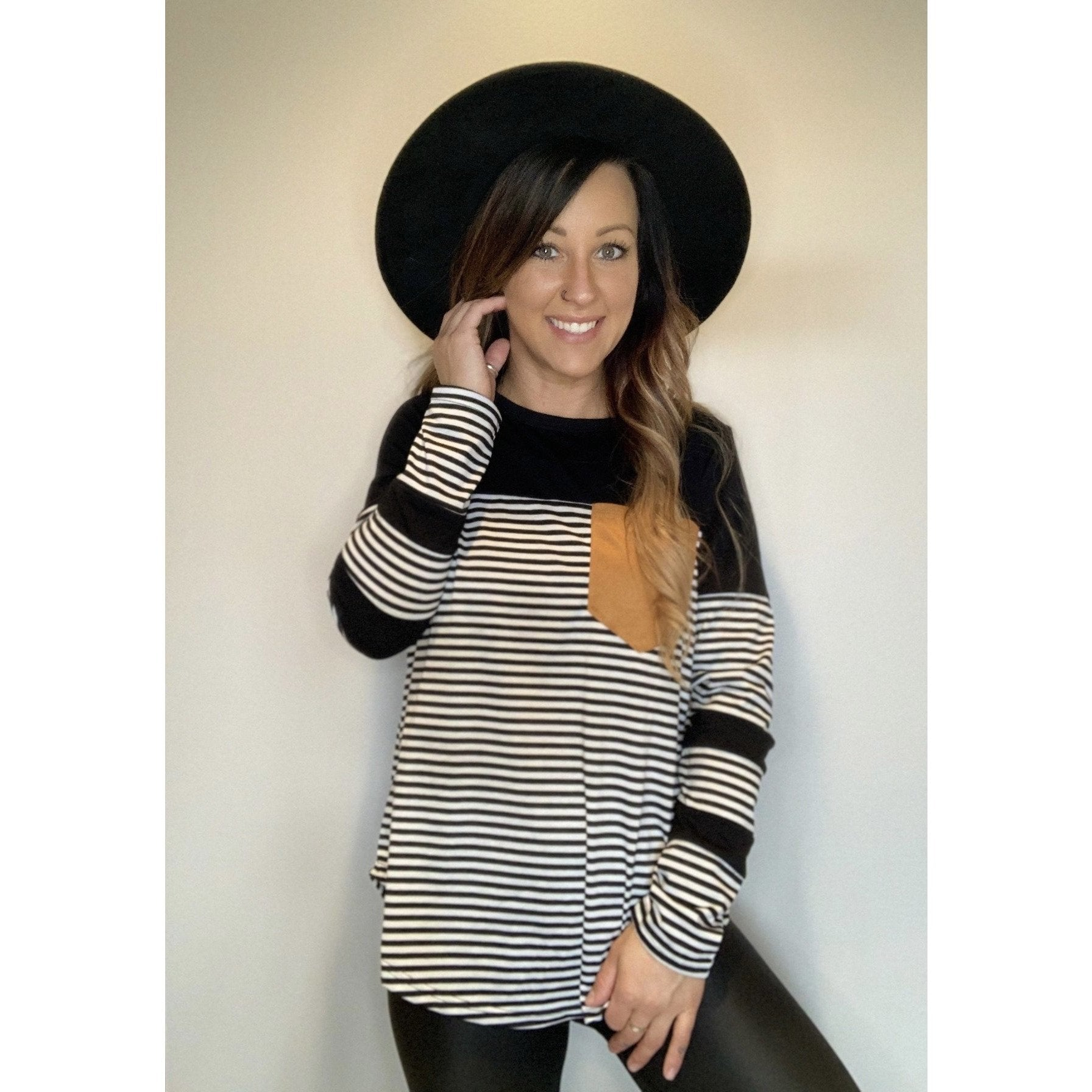 Long Sleeve Stripe With Pocket
