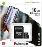 Kingston Canvas Select Plus 100Mbps 16GB Class10 Micro SD Card