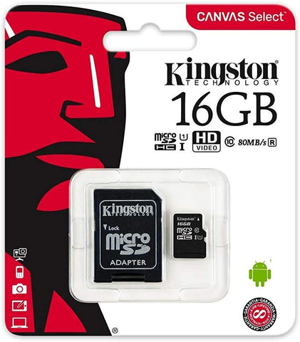 Kingston 16GB MicroSDHC Class10 80 MB/s Memory Card