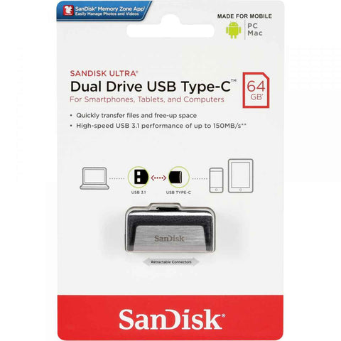 SanDisk Ultra 64GB Dual Drive USB Type-C Flash Drive