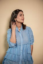 Hina Khan | Blue Tiered Top With Multi Scrap Culottes