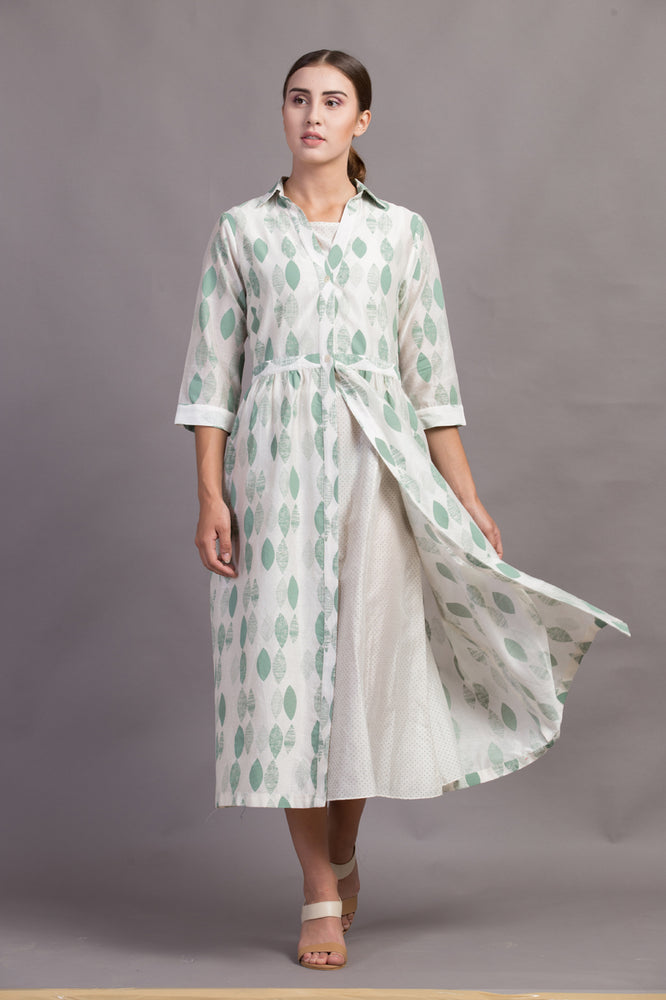 Ivory/Green Double Layer Leaf Printed Dress
