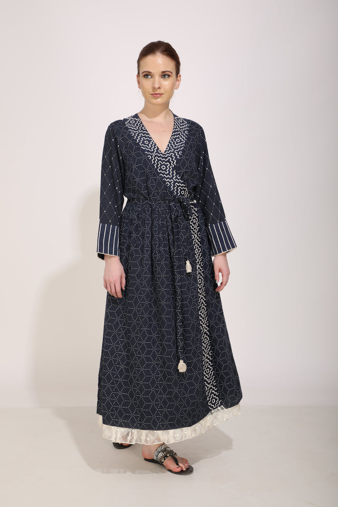 Indigo Printed And Embroidered Wrap Dress Cum Kurta In Slub Cotton