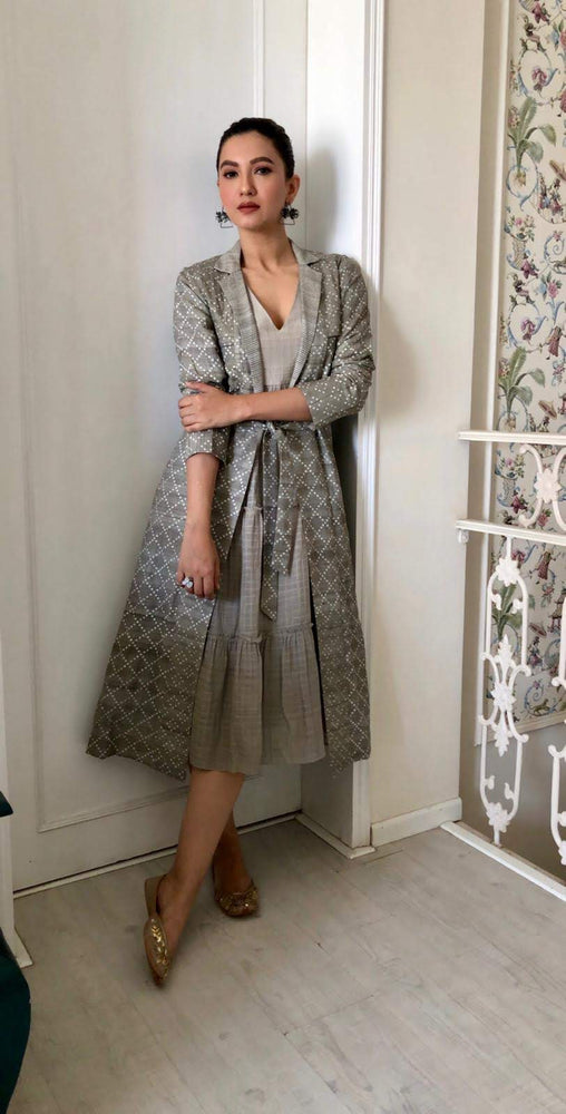 Gauahar Khan | Grey Checks Printed Jacket With Tiered Dress