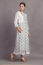 Ivory/ Green Lotus Print Tunic
