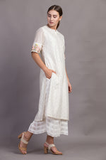 Ivory Printed Tunic With Embroidered Sleeve