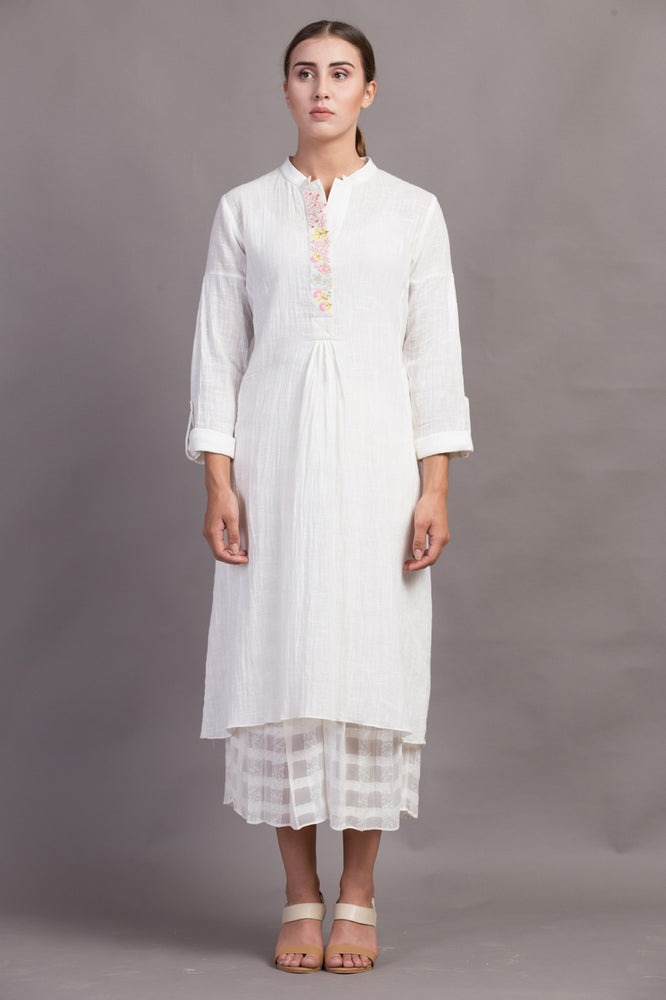 Ivory Embroidered Placket Dress