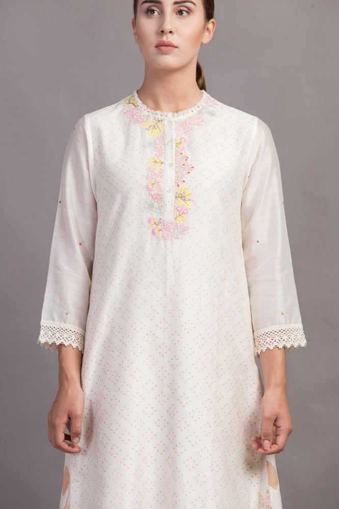 Ivory Embroidered Yoke Printed Tunic