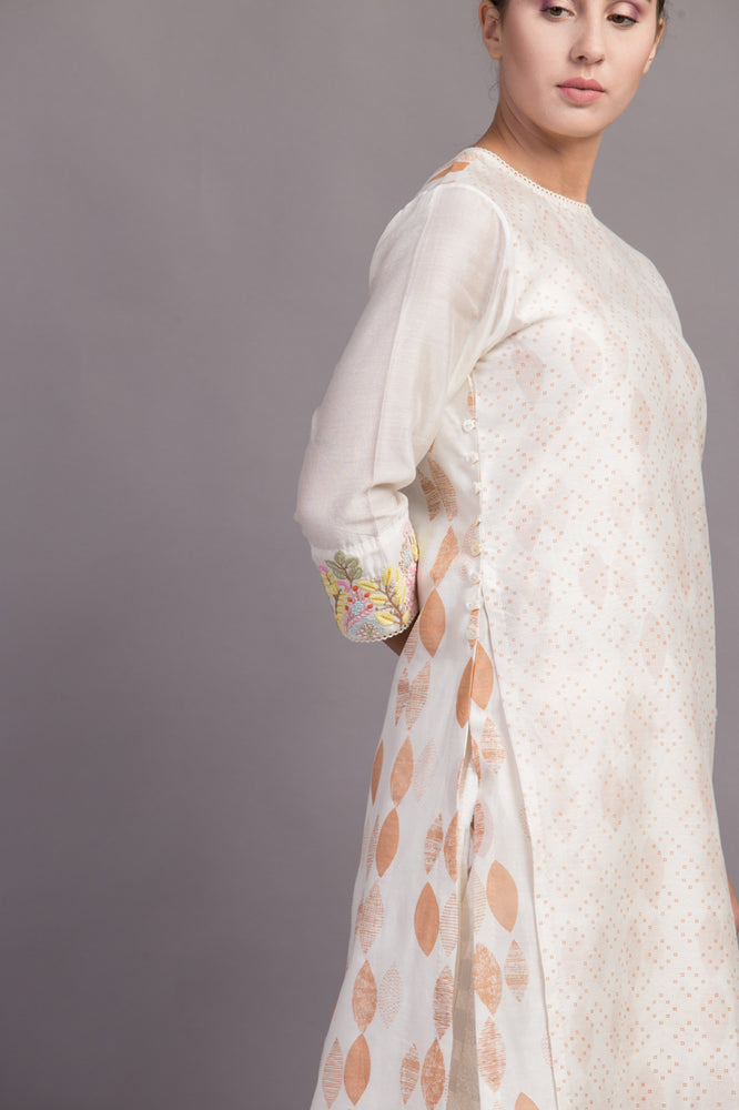 Ivory/ Beige Double Layer Printed Tunic