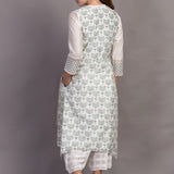 Ivory/ Green Double Layer Printed Tunic
