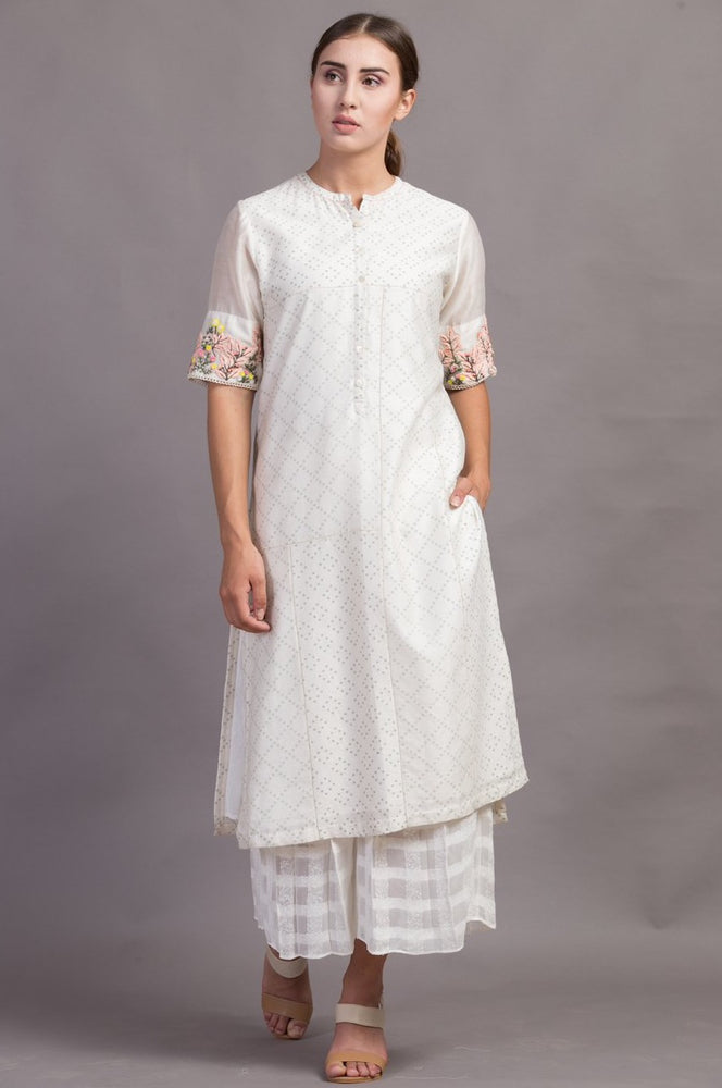 Ivory/ Green Embroidered Sleeve Printed Tunic