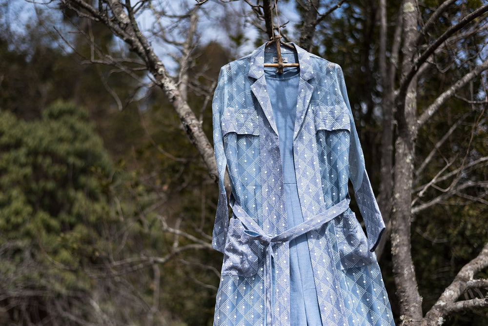 Blue Canopy Print Denim Jumpsuit With  Jacket