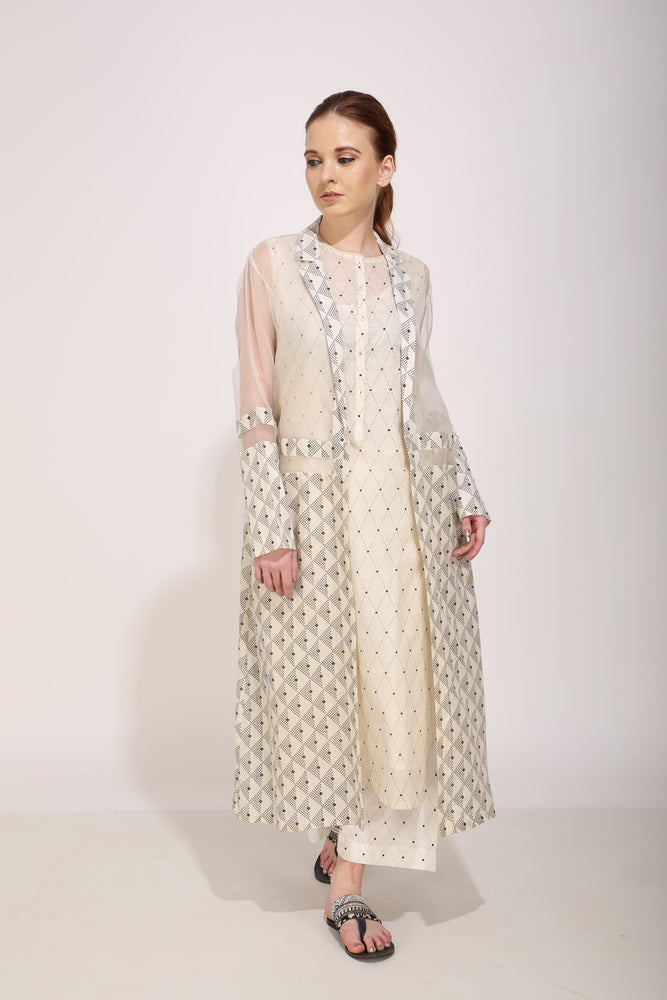 Ivory Printed Tunic And Jacket Set