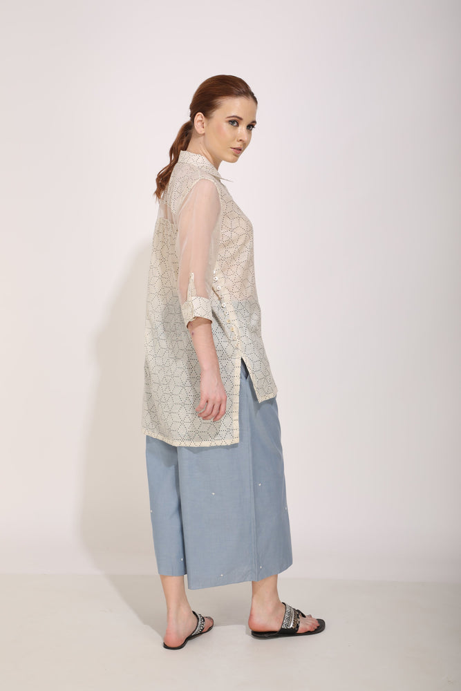 Ivory Corsage Pocket Shirt And Culottes