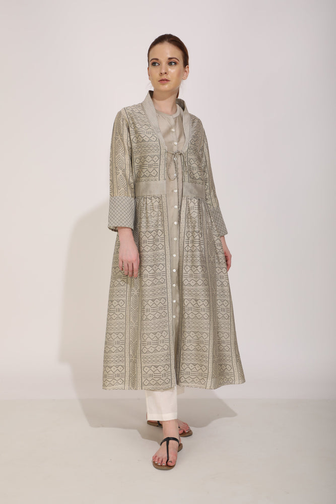 Sand Plain Tunic Paired With Printed Overlay