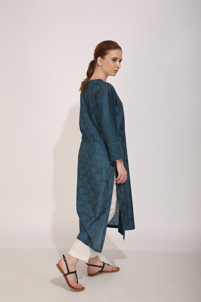 Blue Lotus Print Overlap Tunic