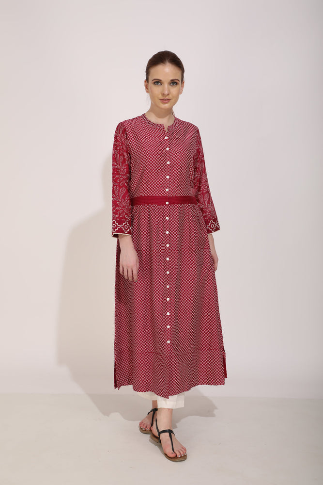 Beetroot Printed Front Open Kurta