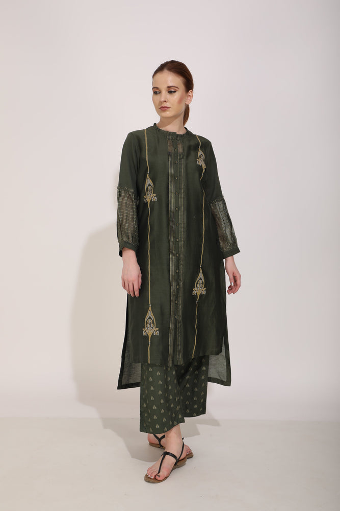 Olive Front Open Tunic With Applique Detail