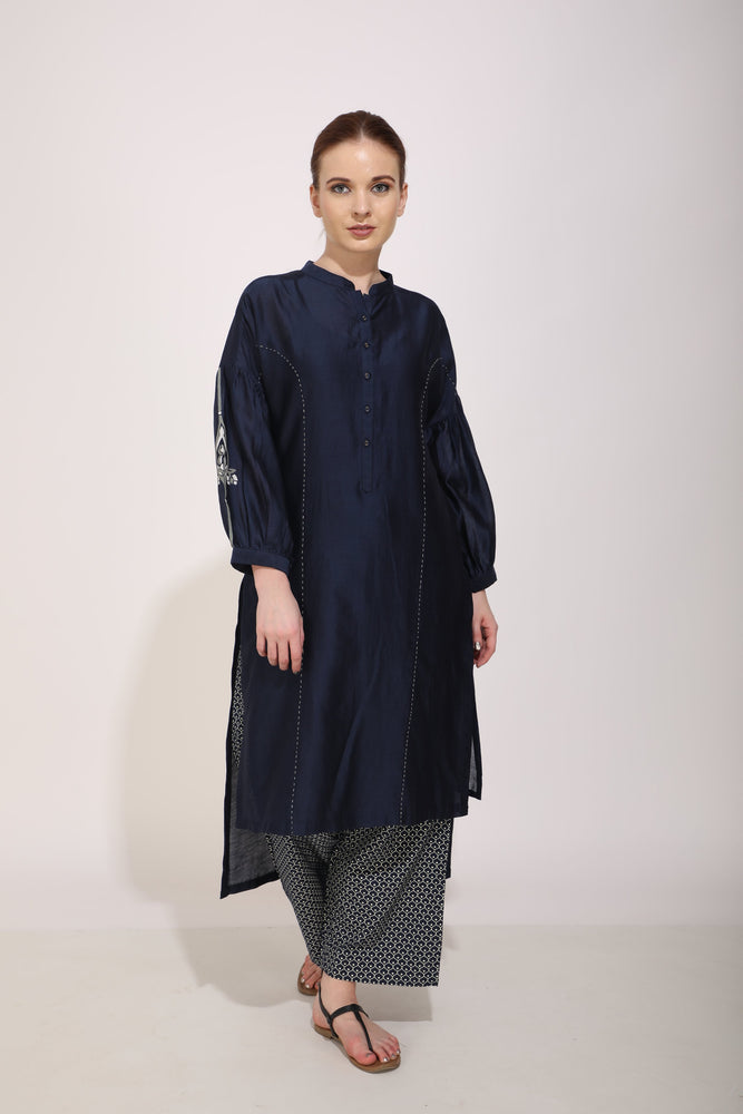 Indigo Tunic With Applique On Sleeve