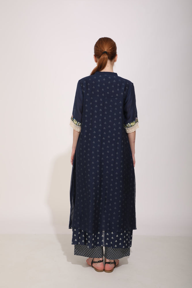 Indigo Double Layer Tunic With Hand Embroidery On Sleeve