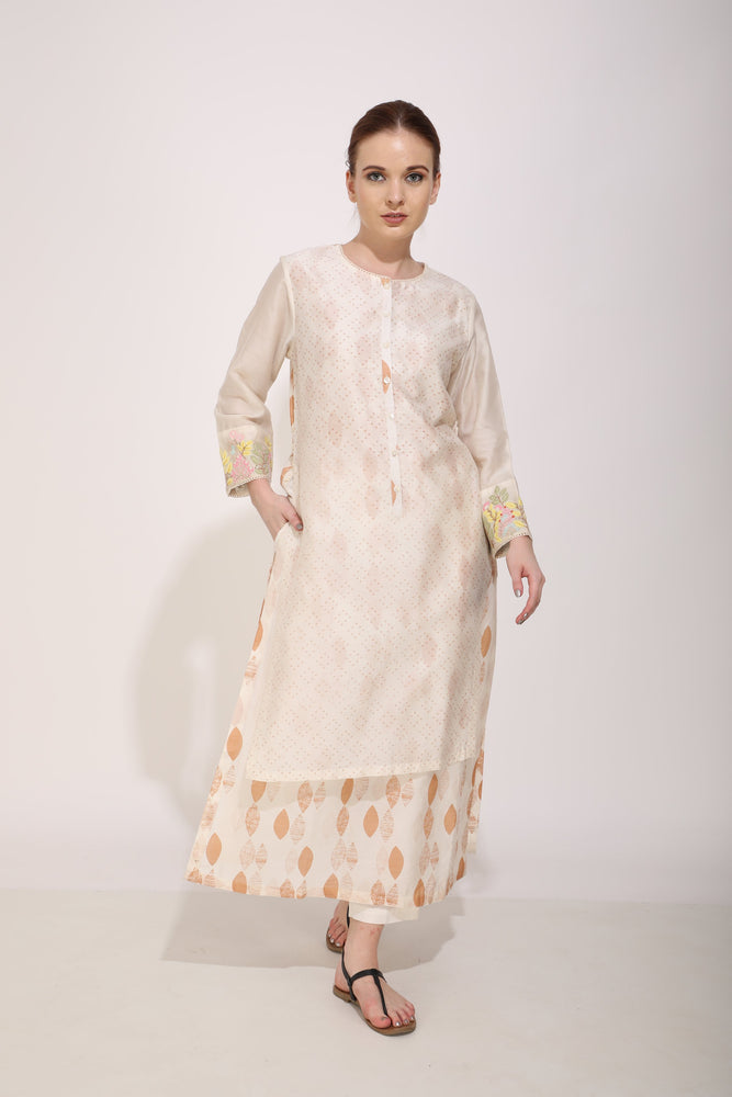 Ivory Leaf Print Layered Tunic