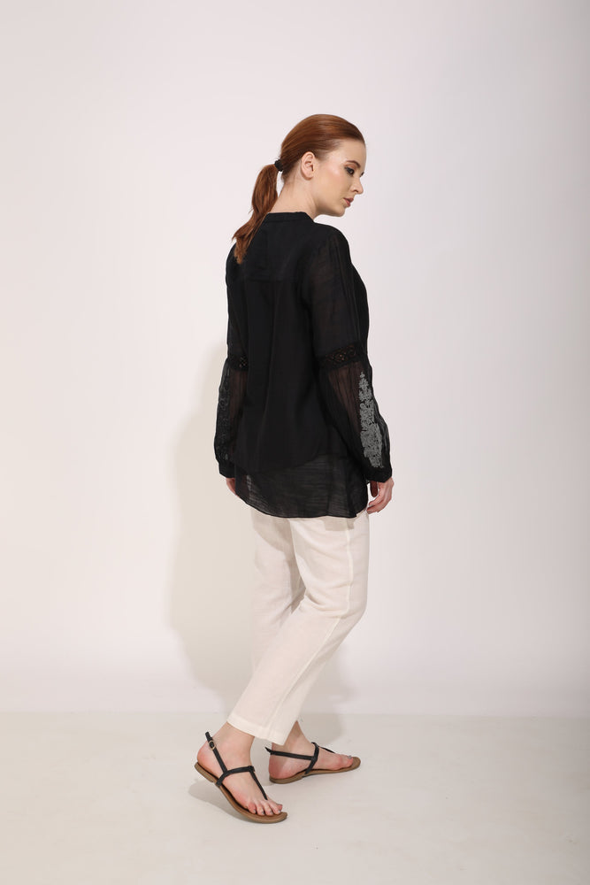 Black Layered Top With Hand Embroidery On The Sleeve